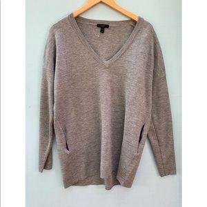 J Crew Oversized Wool V Neck Tunic Sweater